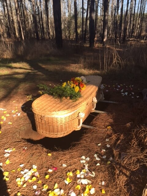 Heritage Acres in Cincinnati will allows coffins for green burial, such as this woven coffin.